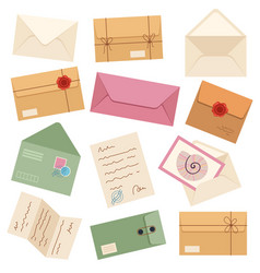 different post envelopes isolated set vector image