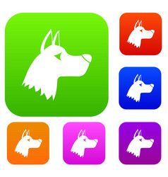 Doberman dog set collection vector