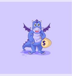 Dragon sticker emoticon extend hand offer a deal vector