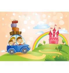 Family going to the Fairy Tale castle vector