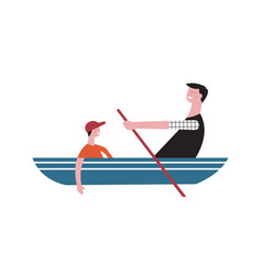 Father and son sail in boat vector