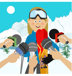 female skier interviewed after competition vector image