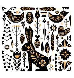 Festive easter set with gold tribal ornaments vector