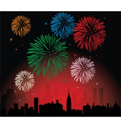 Fireworks over a city vector