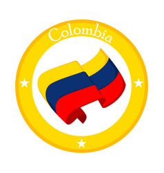 Flag of colombia on a label vector