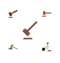 Flat icon hammer set of tribunal court justice vector