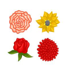 Floral botanical flower ornament design set vector