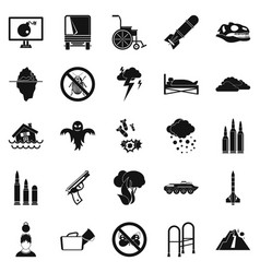 Fright icons set simple style vector