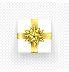 gift box golden bow ribbon design birthday new vector image