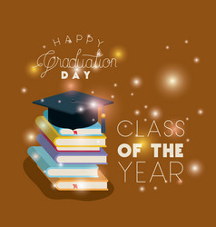Graduation card with hat and pile books vector