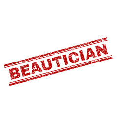 grunge textured beautician stamp seal vector image