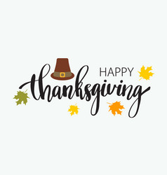 hand drawn happy thanksgiving typography poster vector image