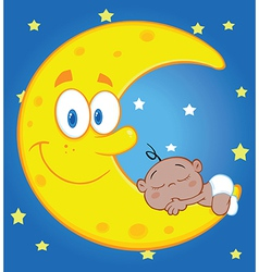 Happy cartoon moon vector
