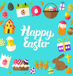 happy easter lettering postcard vector image