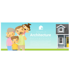happy family standing outside their house vector image