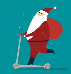 happy santa claus skating on push scooter vector image