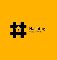 Hashtag symbol house logo icon design template vector