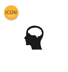head with brain icon isolated flat style vector image
