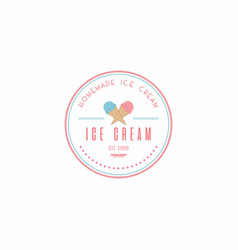 Homemade ice cream logo design vector