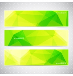 Horizontal Polygonal Set of Banners in green and vector image