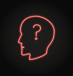 human head with question mark neon icon vector image