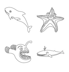 Isolated object of sea and animal symbol set of vector
