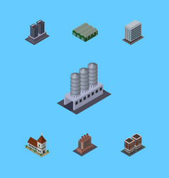 Isometric building set of tower office warehouse vector