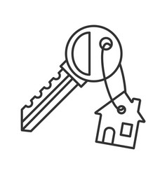 Key with trinket house linear icon vector