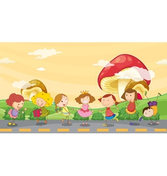 Kids playing at the roadside vector image