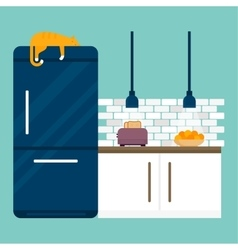 Kitchen and furniture interior flat style vector