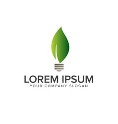 leaf bulb logo natural logos concept design vector image