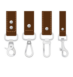 Leather belts with carabine clasp collection vector