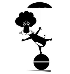 Lion with umbrella stays on the ball vector