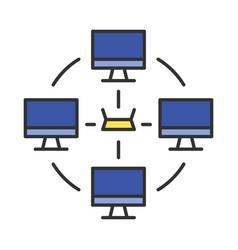 Local area network color icon vector