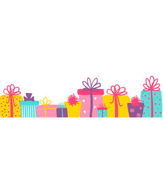 long banner with cute colorful gift boxes vector image
