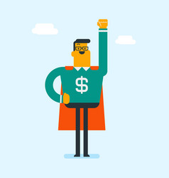man wearing superhero suit with dollar sign vector image