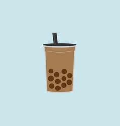 milk bubble tea flat style vector image
