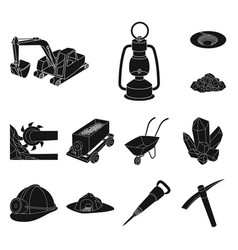 Mining industry black icons in set collection for vector