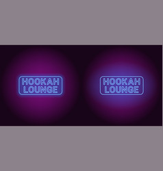 neon icon of blue hookah lounge inscription vector image