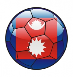 nepal flag on soccer ball vector image