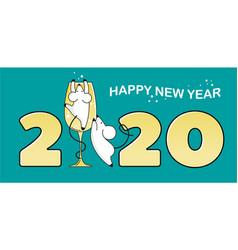 New year card symbol 2020 mice climb onto a vector