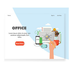 Office workspace website landing page vector
