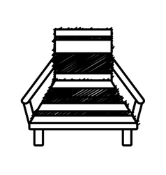 Outline chair beach relax wooden vector