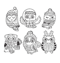 Outline set with Christmas owls vector