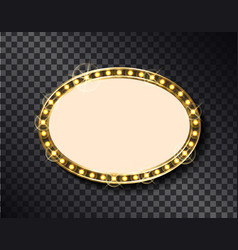 Oval border vintage illuminated board with light vector