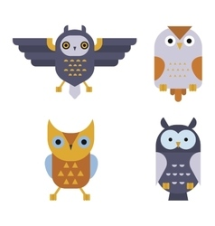 Owl wild bird cartoon vector image