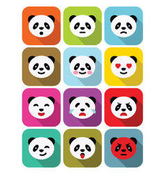 Panda bear flat emotions icons set vector image