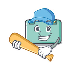 Playing baseball suitcase character cartoon style vector
