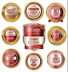 premium quality golden labels vector image
