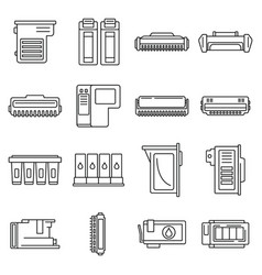 Printer cartridge icons set outline style vector